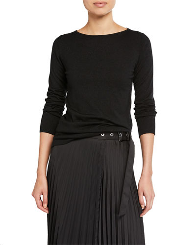 Shimmer Cashmere-Silk Boat Neck Sweater