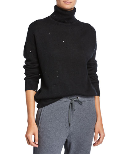 Cashmere/Silk Sequined Turtleneck Sweater