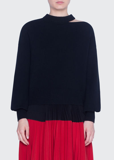 Wool-Cashmere Slit-Neck Full-Sleeve Sweaters