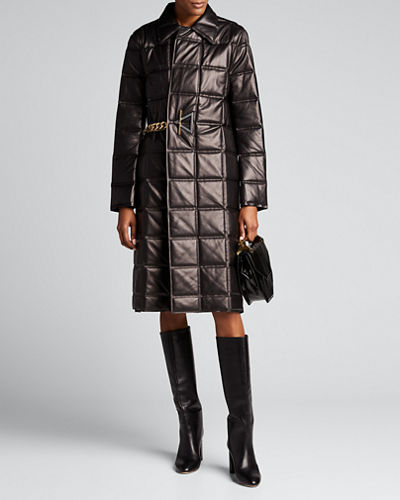 Bonded Quilted-Leather Chain-Belted Coat