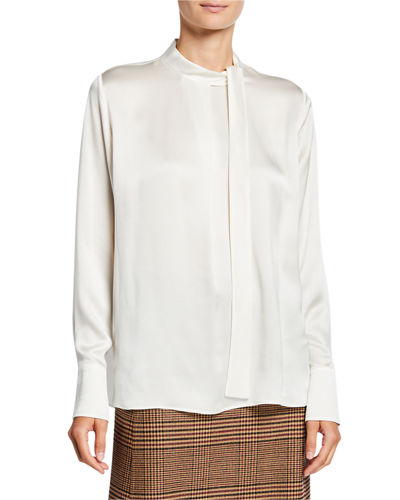 Emma Silk-Satin Tie-Neck Blouse