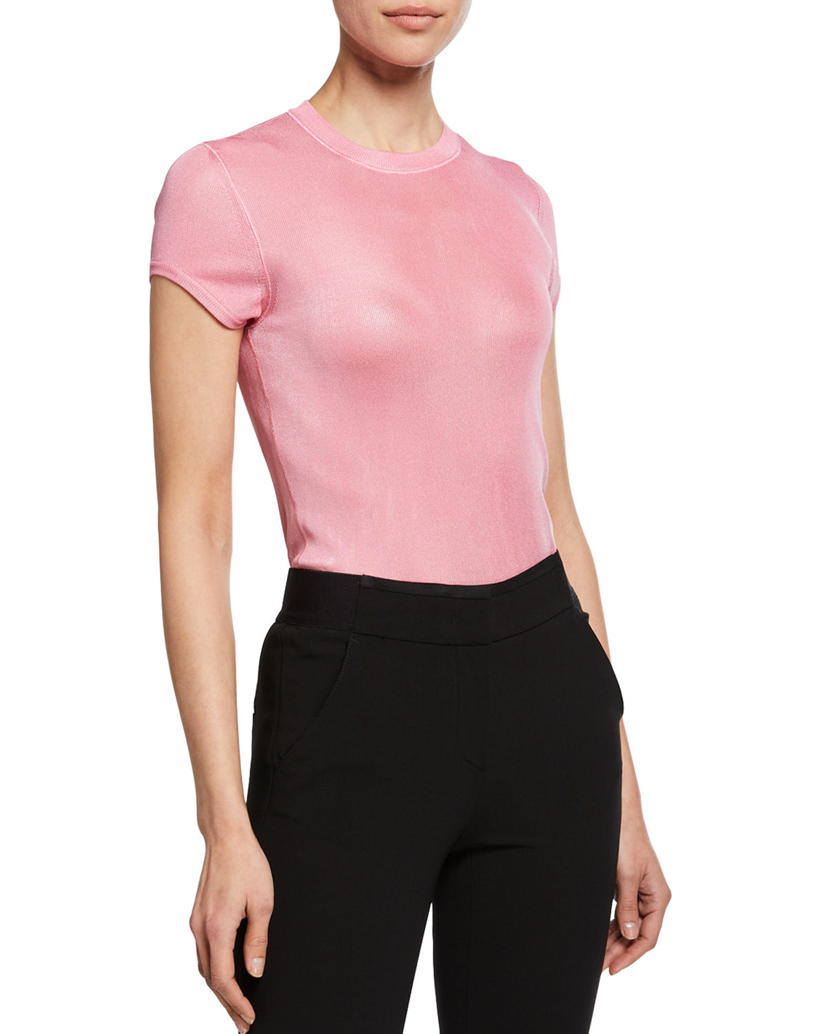 Tom Ford Knits CREWNECK SHORT-SLEEVE KNIT MUSCLE TEE