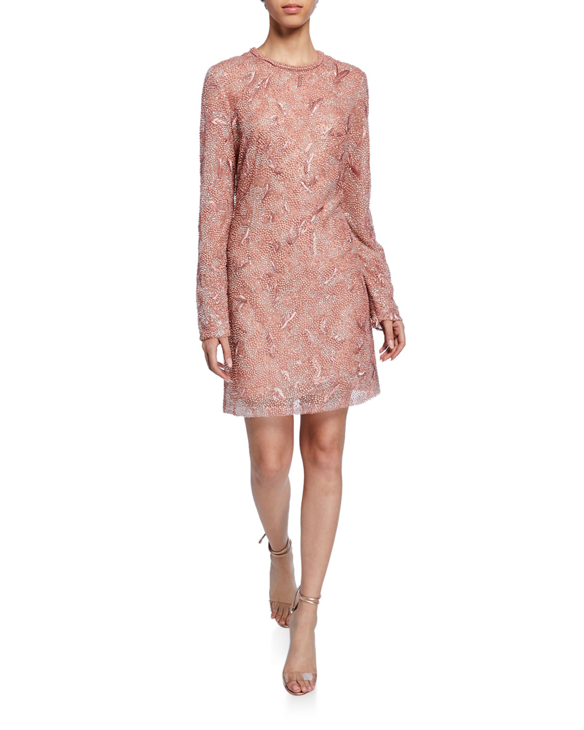 J Mendel Long-Sleeve Embroidered Mini Dress In Pink