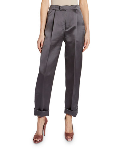 Silk Duchesse Front Pleated Crop Pants