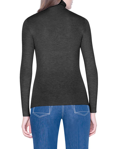 Cashmere-Silk Fitted Turtleneck Sweater