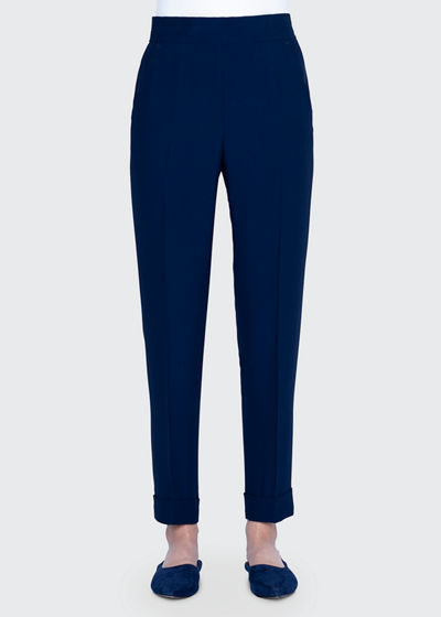 Wide Elastic-Back Tapered Pants