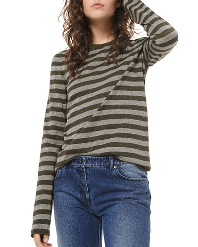 Shimmer-Striped Long-Sleeve Shirt