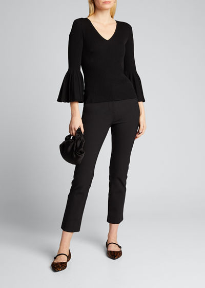Icon V-neck Knit Flare-Sleeve Top