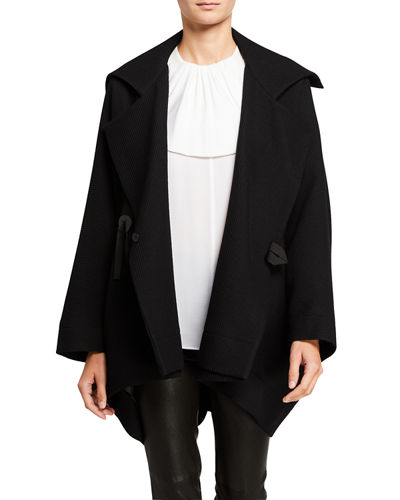 Textured Wrapped Wool Short Coat
