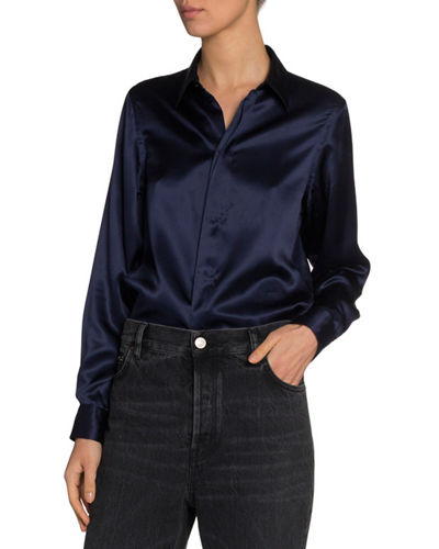 Silk Satin Button-Front Shirt