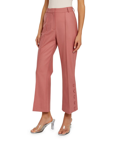 Mid-Rise Button-Cuff Crop Trousers