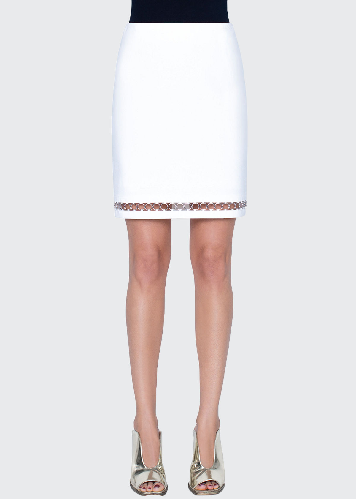 Akris Punto JERSEY MINI SKIRT WITH CHAIN HEM