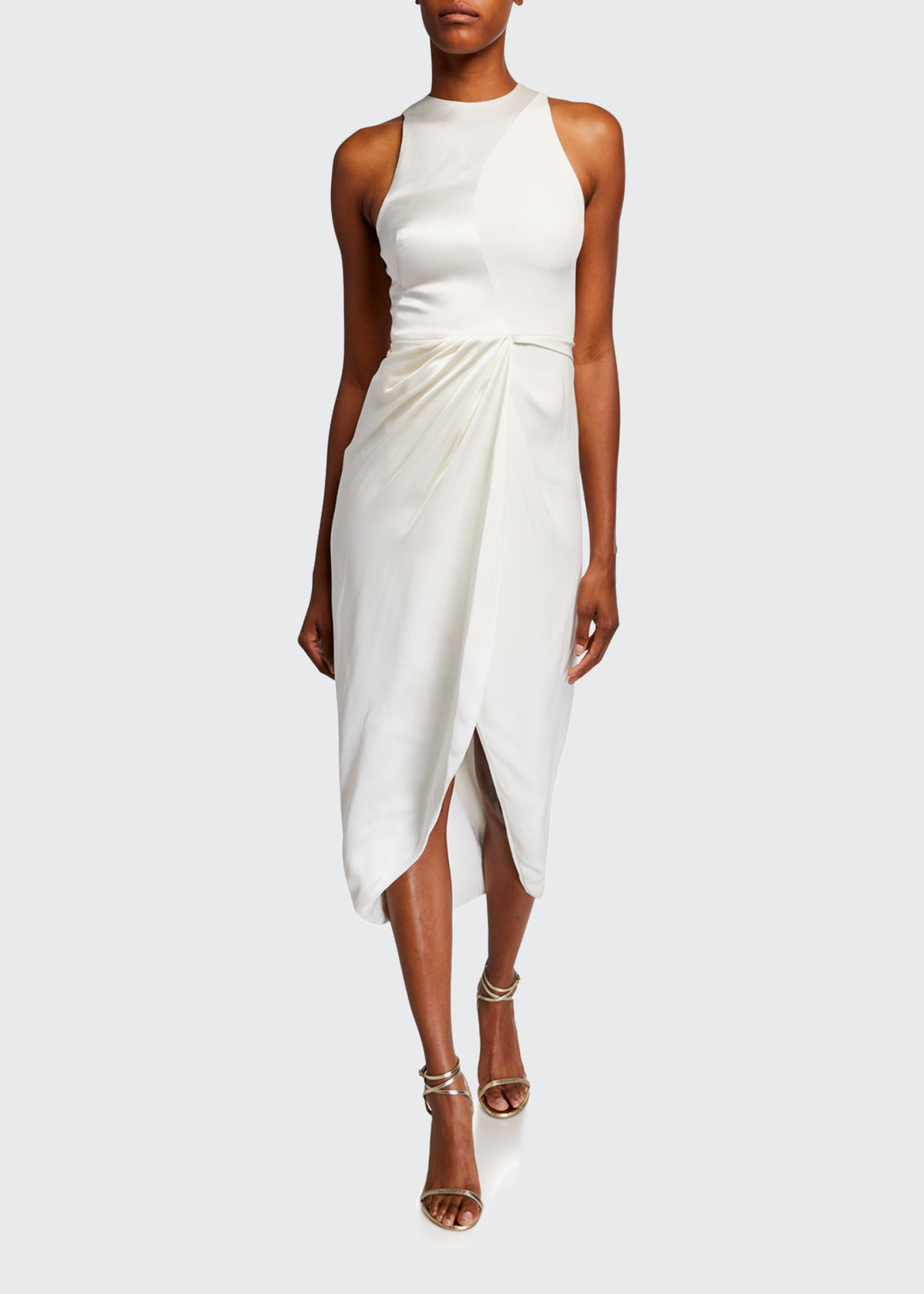 Brandon Maxwell HIGH-NECK WRAPPED SKIRT