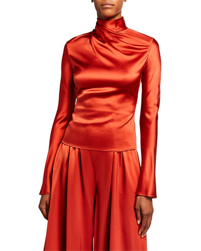 Crepe-Back Satin Draped-Neck Blouse
