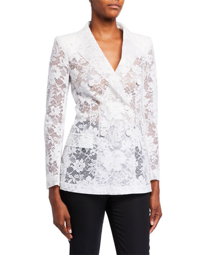 Floral Lace Double-Breasted Blazer