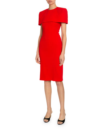Crepe Wool Dress with Removable Capelet