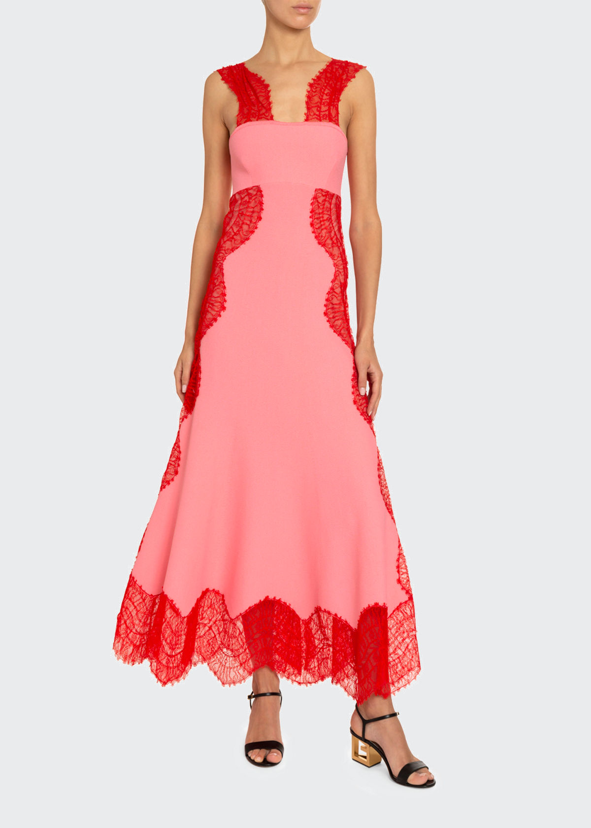 GIVENCHY CREPE WAVY-LACE MAXI DRESS