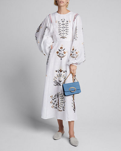 Patchouli Embroidered Linen Dress