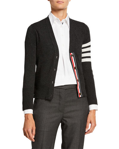 Cashmere Striped-Sleeve V-Neck Cardigan