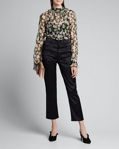 Floral-Print Crinkled Chiffon Tie-Neck Blouse