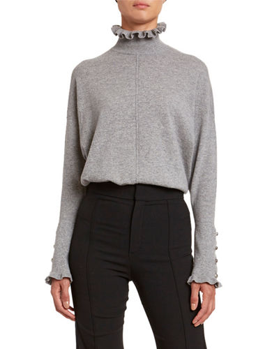 Iconic Cashmere Frill-Trim Sweater