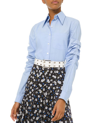 Ruched Poplin Button-Front Shirt