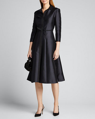 Silk Taffeta Midi Shirtdress