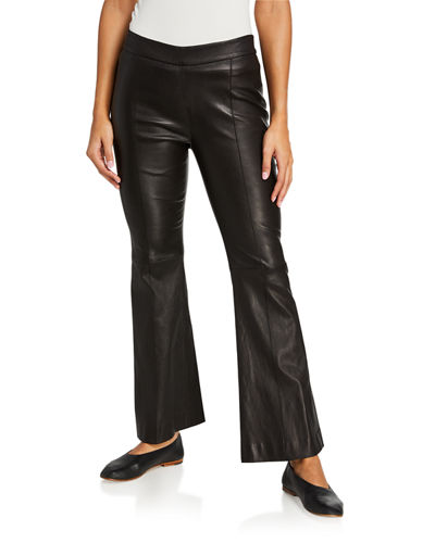 Stretch Leather Cropped Flare Pants