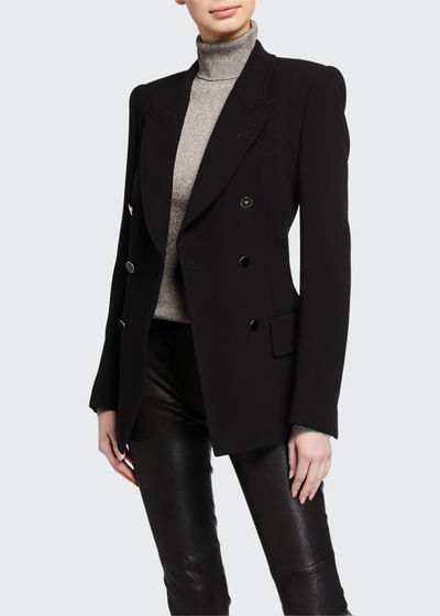 Strong-Shoulder Wool Fitted Blazer