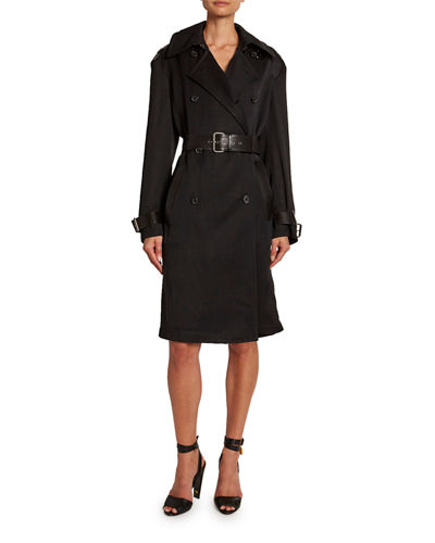 Leather-Trim Double-Breasted Trench Coat