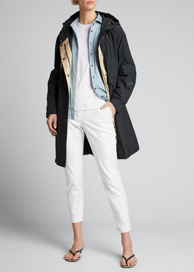 Hooded Long Taffeta Jacket
