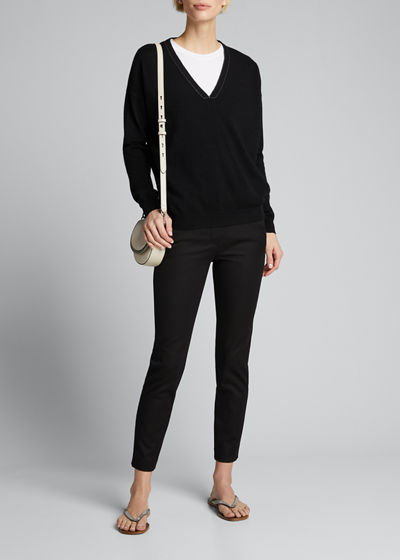 Stretch Cotton Skinny Ankle Pants
