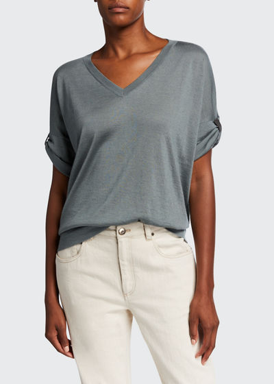 V-Neck Rolled Cap-Sleeve Cashmere/Silk Sweater