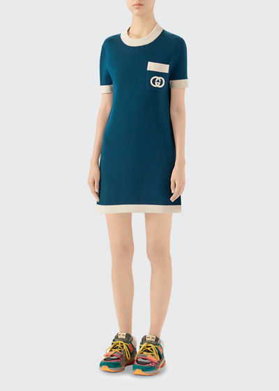 Fine Wool Short-Sleeve Dress