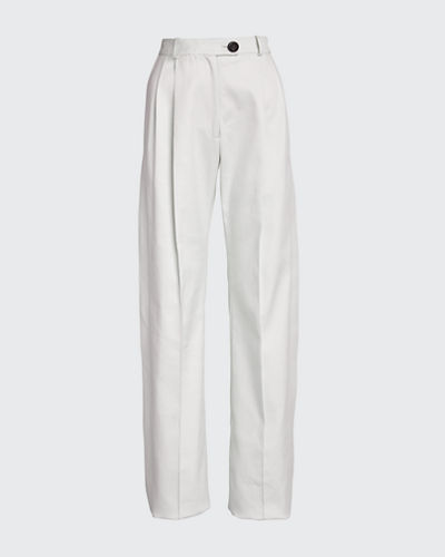 Cotton Side-Pleated Trousers