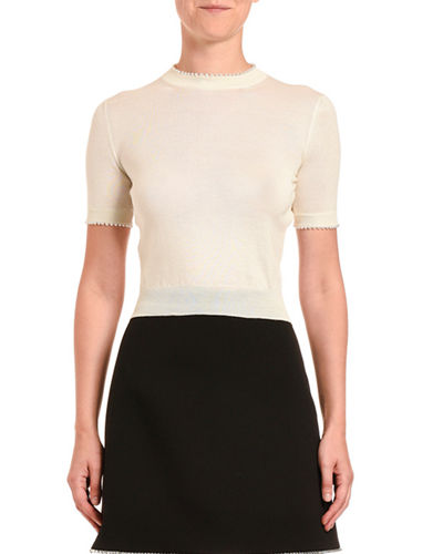 Cashmere Pearly Trim Short-Sleeve Sweater
