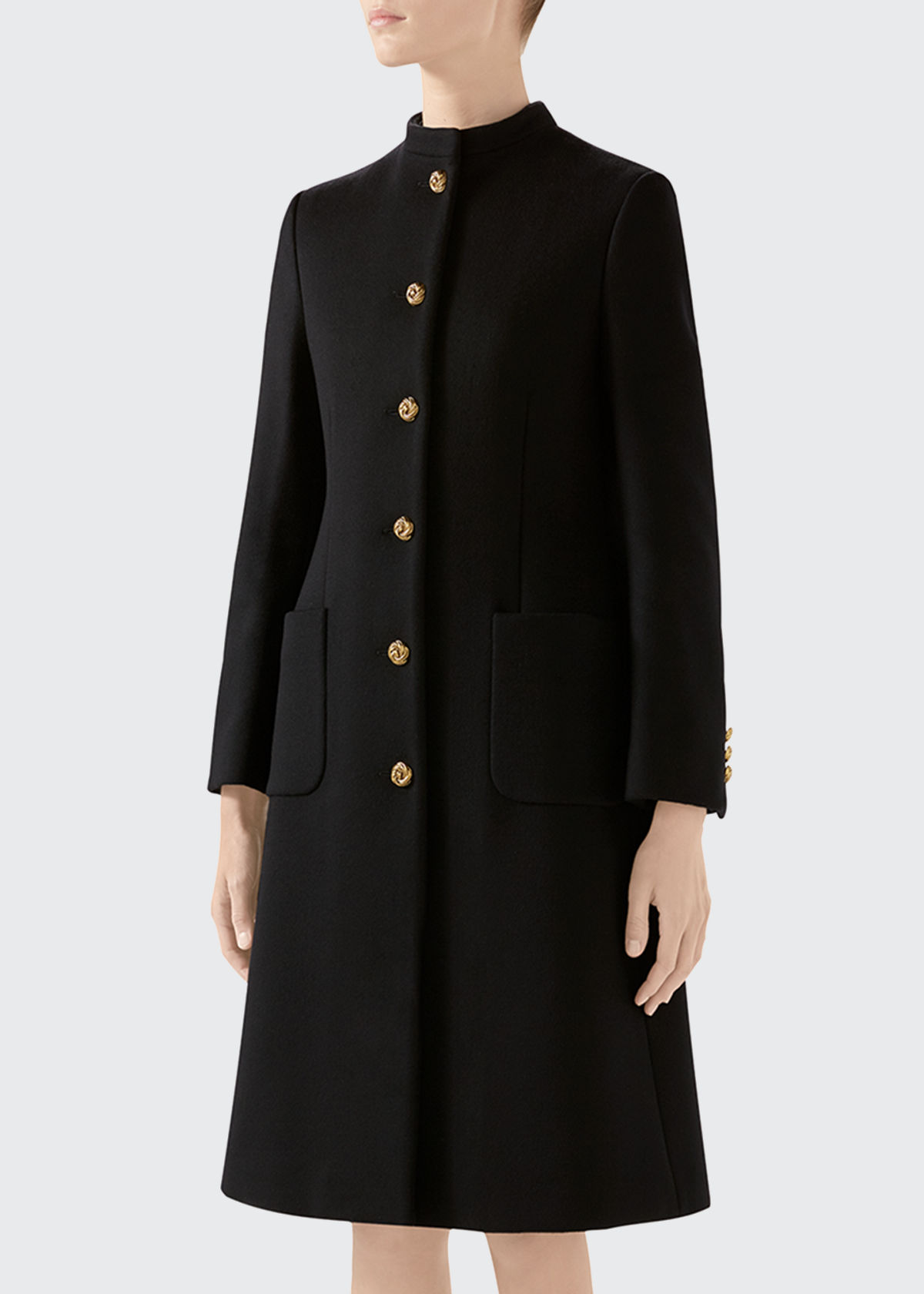 Gucci Coats WOOL COAT WITH KNOT BUTTONS W/ UPDATED GG BACK