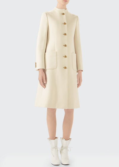 Wool Coat With Knot Buttons w/ Updated GG Back
