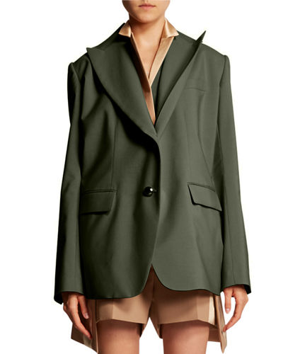 Double-Lapel Fitted Blazer