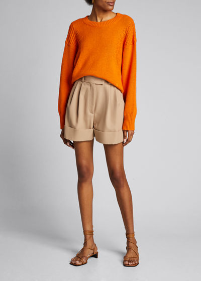 Cotton-Cashmere Cropped Dolman-Sleeve Sweater
