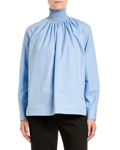 Egypt Compact Poplin Smocked Turtleneck Blouse