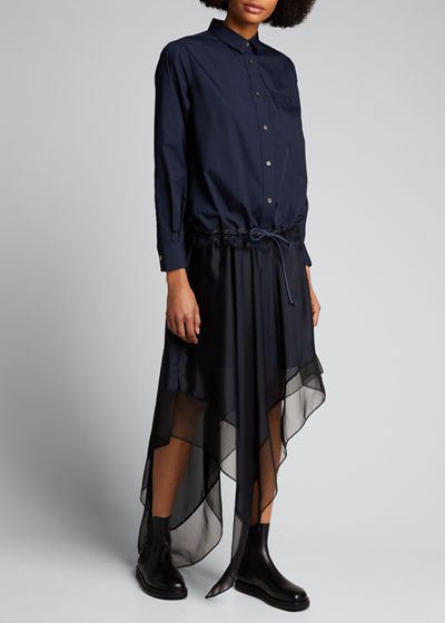 Button-Front Boxy Striped Poplin Shirt w/ Lace Hem