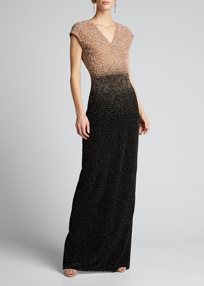 Ombre Signature Sequin V-Neck Column Gown