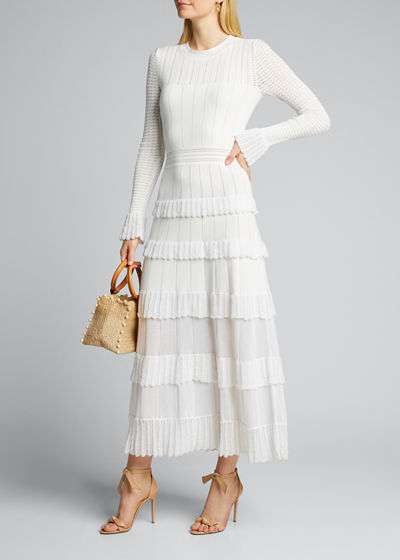 Tiered Long-Sleeve Ruffle-Trim Midi Dress