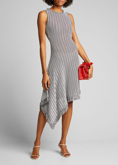 Tuextured-Knit Asymmetric Dress
