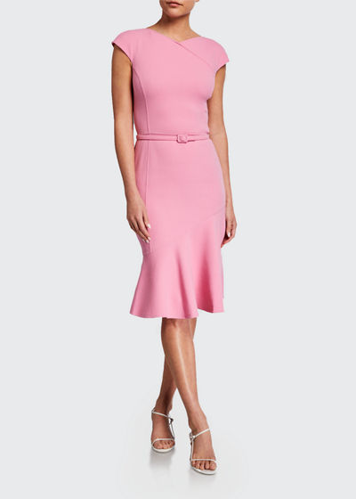 Cap-Sleeve Belted Midi Dress w/ Flutter-Hem