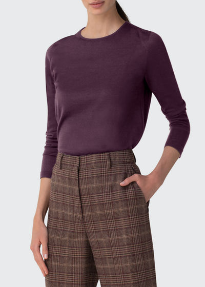 Cashmere-Silk Knit Long-Sleeve Pullover