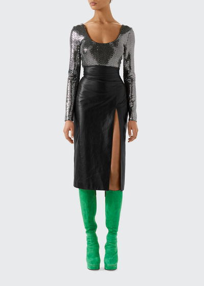 High Waisted Shiny Leather Skirt with Front Slit