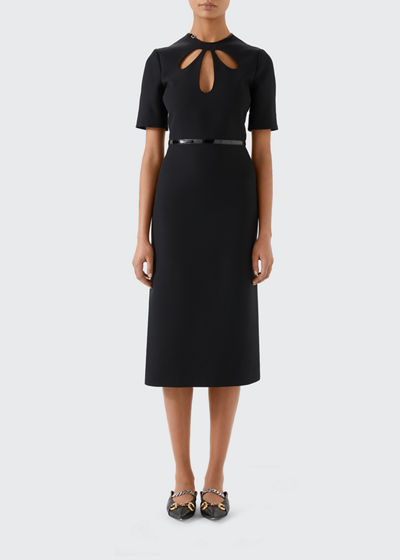 Short-Sleeve Cady Crepe Wool/Silk Dress With Teardrop Cutouts And Leather Trim