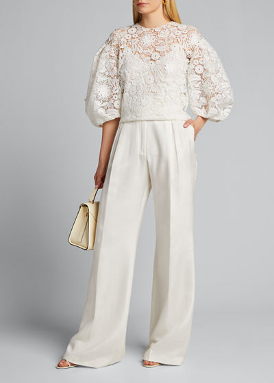 Lace Puff-Sleeve Blouse